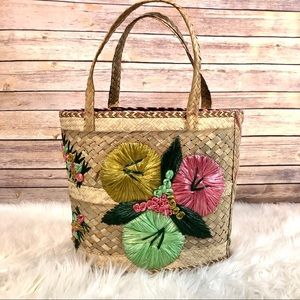 Flower Detail Straw and Palm Tote Bag